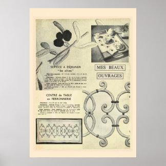 Bordado francés del vintage retro, lino de tabla, póster