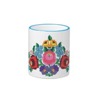 Bordado húngaro de la flor del OPUS Taza De Café