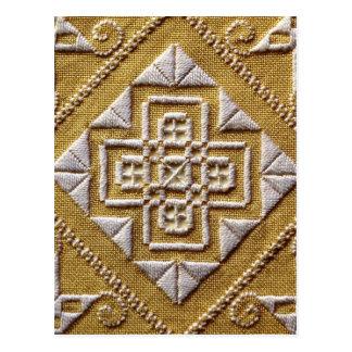 Bordado IMPRESO blanco 1 en el personalizado de Tarjetas Postales