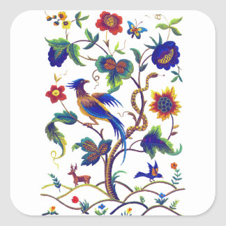 Bordado jacobeo de la ave del paraíso de Beautful Pegatina Cuadrada