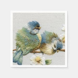 Bordado lindo del pájaro servilletas desechables