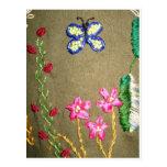 Bordado moldeado de la mariposa tarjetas postales