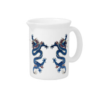 Bordado oriental azul del chino de la antigüedad d jarra