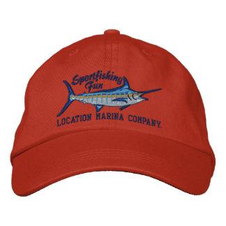 Bordado personalizado de la aguja azul de la pesca gorra de beisbol