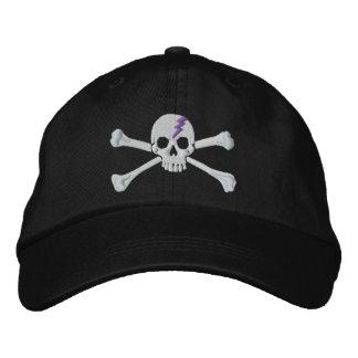 Bordado púrpura del cráneo de la bandera pirata gorra bordada