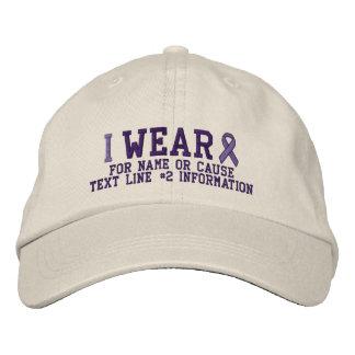 Bordado púrpura personalizado de la conciencia de gorras bordadas