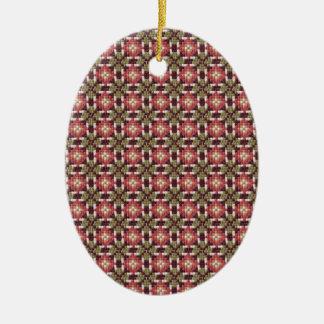 Bordado retro adorno navideño ovalado de cerámica