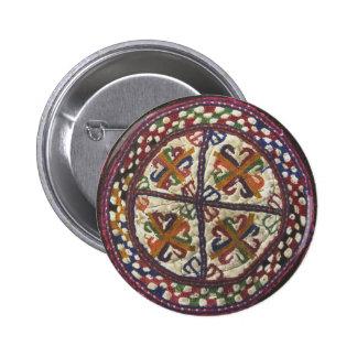 Bordado tribal afgano: Top del gorra Pin Redondo De 2 Pulgadas