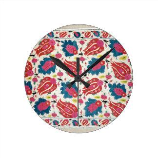 Bordado, turco (materia textil) reloj redondo mediano