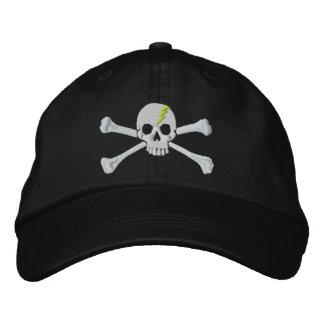 Bordado verde del cráneo de la bandera pirata del gorras bordadas