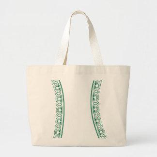 Bordado verde moderno 6 bolsa lienzo