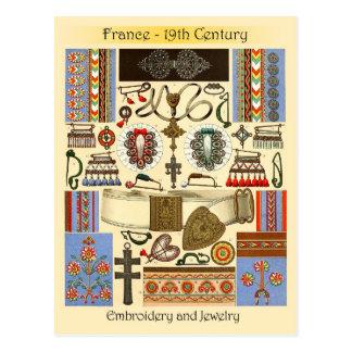 Bordado y joyería - Francia, siglo XIX Postal