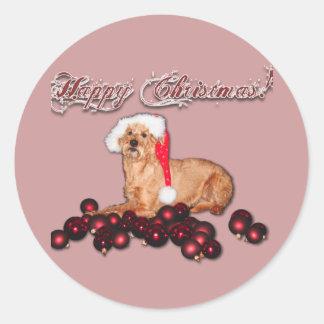 "Bordador Happy Christmas ""Terrier Irlandesa "" Pegatina Redonda"