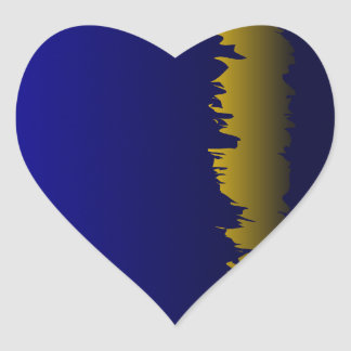 Borde amarillo dentado pegatina en forma de corazón