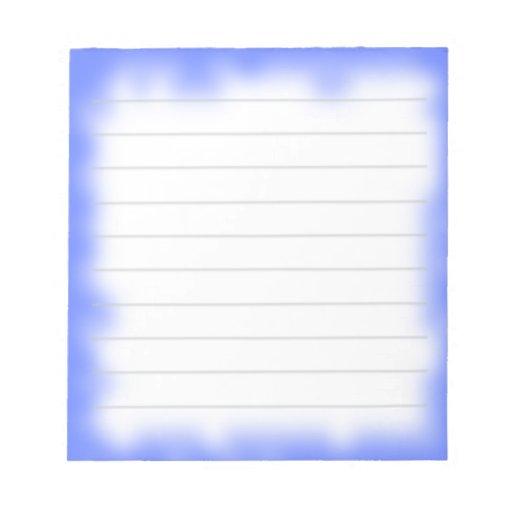 borde azul libreta para notas