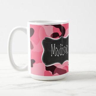 Borde Camo rosado; Camuflaje; Pizarra retra Tazas De Café