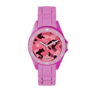 Borde Camo rosado; Camuflaje Relojes De Pulsera