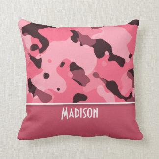 Borde Camo rosado; Personalizado Cojín
