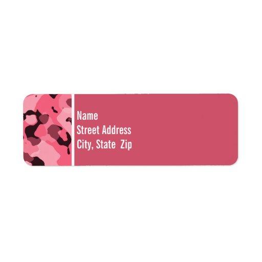 Borde Camo rosado; Personalizado Etiqueta De Remite