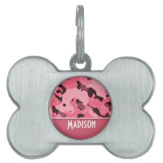 Borde Camo rosado; Personalizado Placas Mascota