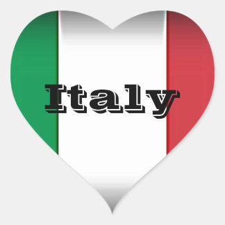 Borde de la oscuridad de la bandera de Italia Pegatina En Forma De Corazón