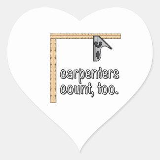 Borde de los carpinteros pegatina en forma de corazón