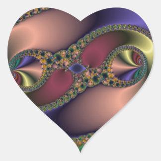 Borde de oro pegatina en forma de corazón