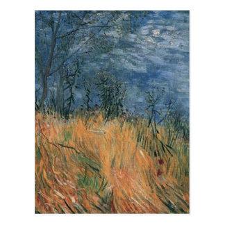 Borde de Van Gogh del Wheatfield con las amapolas  Tarjeta Postal