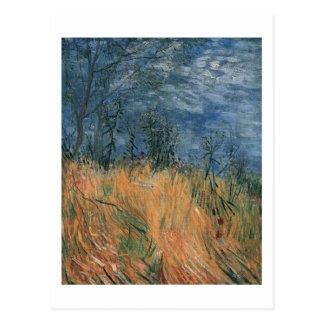 Borde de Van Gogh del Wheatfield con las amapolas  Postal