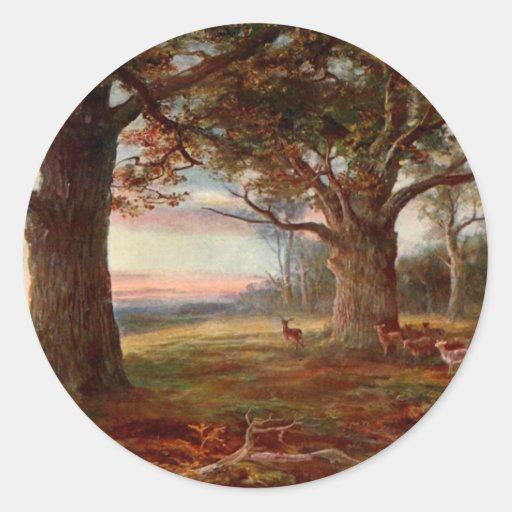 Borde del bosque de Sherwood Pegatina Redonda
