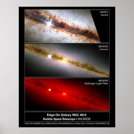 Borde-en el telescopio de la galaxia NGC 4013 Hubb Póster