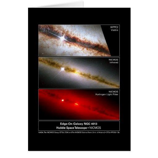 Borde-en el telescopio de la galaxia NGC 4013 Tarjeta De Felicitación