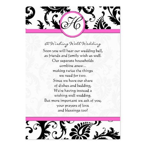Borde rosado blanco y negro del damasco que desea tarjetas de visita grandes