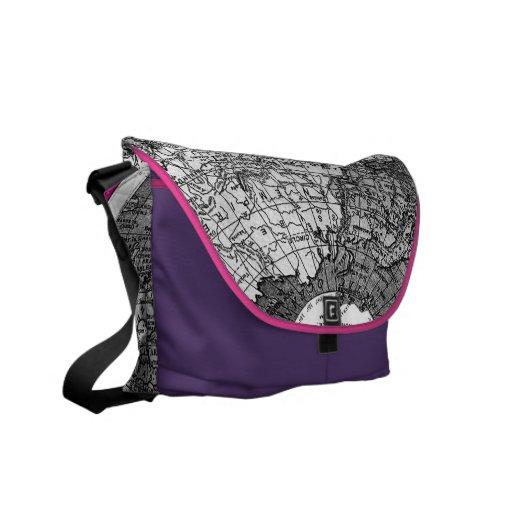Borde rosado de la púrpura de 311 mapas del mundo bolsas de mensajería