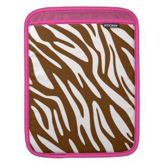 Borde rosado marrón de la cebra 311 funda para iPads