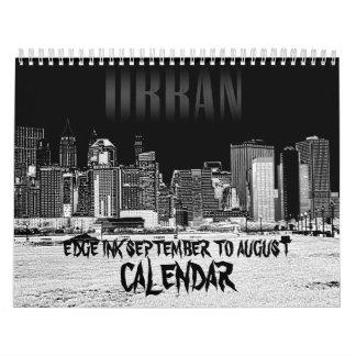 Borde tinta calendario del septiembre a agosto