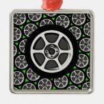 Borde y neumático del coche ornamentos para reyes magos