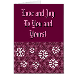 Bordeaux and White Snowflakes Love and Joy Card