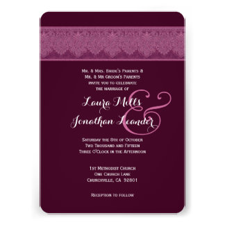 BORDEAUX and WINE Damask Wedding Template V24 Card