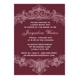 Bordeaux Baroque Ladies Night Out 5x7 Paper Invitation Card