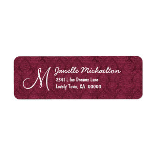 Bordeaux Damask Monogram M or Any Initial M009 Label