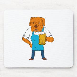 Bordeaux Dog Brewer Mug Mascot Cartoon Mouse Pad