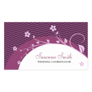 Bordeaux elegant card of flowers pink and chevrón business cards