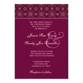 Bordeaux Geometric Pattern Wedding G311 5x7 Paper Invitation Card