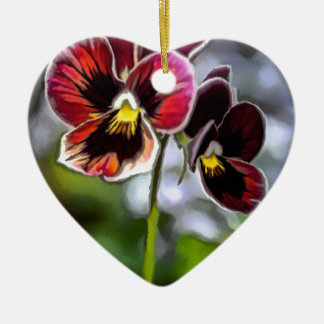Bordeaux Pansy Flower Duo Ceramic Ornament