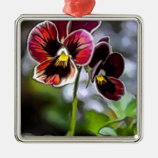Bordeaux Pansy Flower Duo Metal Ornament