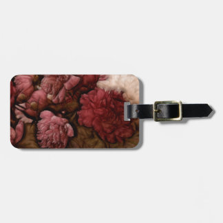 Bordeaux Peony Flower Bouquet Luggage Tag
