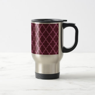 Bordeaux Red And Pink Moroccan Trellis Pattern Coffee Mugs