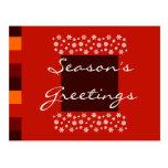 Bordeaux Red Orange Christmas Postcard
