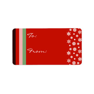 Bordeaux Red Pink Green Christmas Gift Label